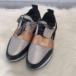 35f7e032e95 Steve Madden Shoes - Steve Madden Rose Gold Faux Leather Arctic Sneaker